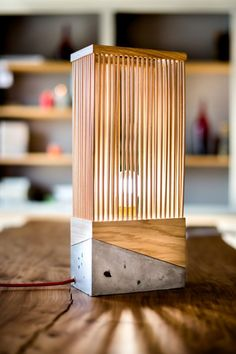 Wood and Concrete Table Lamp Table Lamps