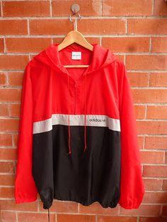 Vintage 80s ADIDAS Trefoil Run Dmc Style Hip hop Nylon Windbreaker Sweater Pullover Hoodie Parka Bomber Jacket