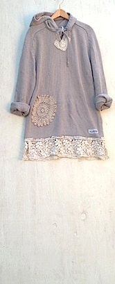 khaki winter latte sweater hoody upcycled vintage lace  tunic romantic gypsy prairie girl rustic shabby. $75.00, via Etsy.
