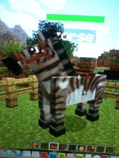 """Breed any horse with the zebra to make every other """"horse"""" after this zorse Minecraft Awesome, Minecraft Horse, Minecraft Stuff, Minecraft Cheats, Minecraft Survival, Modern Minecraft Houses, Minecraft Buildings, Texture Packs, Diy Slime"""