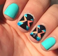 Tribal turquoise nail art