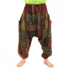 ॐ Aladin Patchworkhose mit Gummizug Baumwolle mit Seitentasche