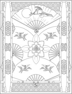 Welcome to Dover Publications Detailed Coloring Pages, Adult Coloring Book Pages, Printable Adult Coloring Pages, Colouring Pages, Coloring Books, Traditional Japanese Art, Japanese Design, Asian Quilts, Asian Cards