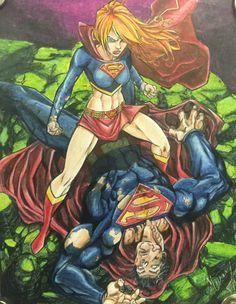 SuperGirl Superman Colored pencil Supergirl Superman, Colored Pencils, Anime, Projects, Art, Craft Art, Color Crayons, Colouring Pencils, Anime Shows