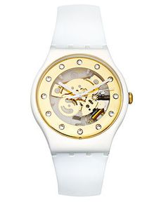 Swatch Watch, Unisex Swiss Sunray Glam White Silicone Strap 41mm SUOZ148 - Women's Watches - Jewelry & Watches - Macy's