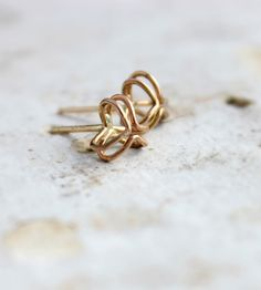 Gold Pod Stud Earrings