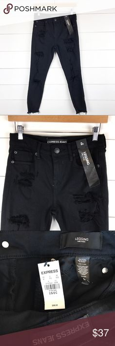 Express Jeans 2s Black Legging Distressed Fray New Super cute brand new pair of Express jeans women's black leggings style in size 2s.  Distressed with fraying and holes in a comfy stretch material.  Measurements below to determine fit.  MEASUREMENTS