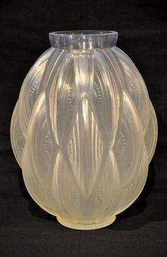 Sabino Vase 24 Pirogues Verre Opalescent Art Déco 1930, Galerie Achille Antiquités, Proantic