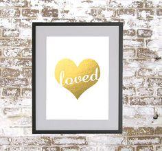 Loved Heart - Gold Foil Print