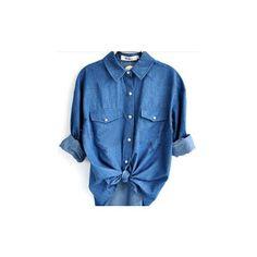 Blue Long Sleeve Pocket Denim Shirt with Print Back ($38) ❤ liked on Polyvore