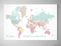 Custom quote world map canvas print teal and blue world map with personalized world map with cities canvas print or push pin map in pastels pretty pastels gumiabroncs Choice Image