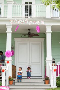 "Will and Zoey anticipate guests' arrival for Zoey's farm chic-themed birthday party! A playful sign above the porch reads ""Zoey's Farm."" Jen chose the theme because Zoey loves the song ""Old MacDonald Had a Farm."""