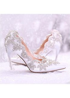 In Stock Wonderful Pointed Toe Ultra-High Heels Wedding/ Bridal Shoes With Rhinestones Wedding Shoes Heels, Bridal Shoes, Stiletto Heels, High Heels, Bust A Move, Wedding Store, Custom Shoes, Your Shoes, Rhinestones