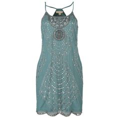 1920's Style Dresses: Flapper Dresses to Gatsby dresses ❤ liked on Polyvore featuring dresses, blue flapper dress, drop-waist dresses, 1920s drop waist dress, blue cocktail dress and 1920s dresses