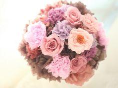 ブーケ プリザーブドのプルズブーケ ニュアンスカラー : 一会 ウエディングの花