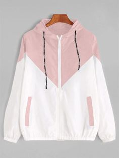 Hooded Two Tone Windbreaker Jacket Patchwork Jackets Women Color Block Zipper Jacket 2018 Autumn Coat Casual Outerwear Pink S Autumn Fashion Casual, Casual Fall, Trendy Fashion, Cute Jackets, Fall Jackets, Blazers For Women, Jackets For Women, Windbreaker Outfit, Jugend Mode Outfits
