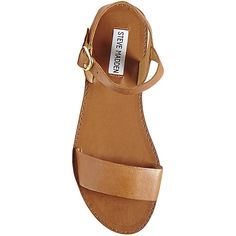Steve Madden Women's Donddi Sandals ($20) ❤ liked on Polyvore featuring shoes, sandals, tan leather, wide sandals, wide flats, leather sandals, leather ankle strap sandals and tan leather flats