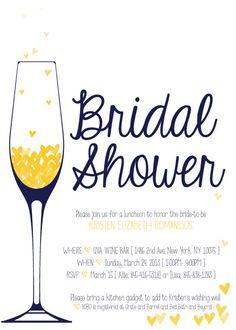 Bridal shower brunch invitation diy bridal shower invite for Champagne brunch bridal shower