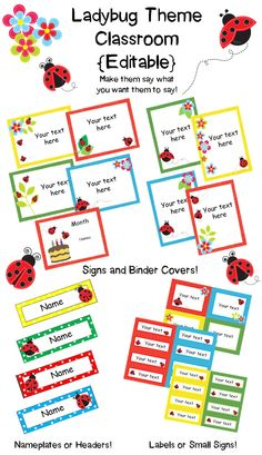 Ladybug Theme Classroom!  {Editable!}  Customize these signs, binder covers, nameplates, headers and labels to meet your needs!