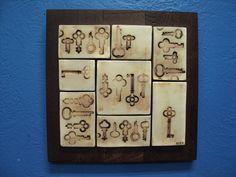 Framed Skeleton Keys Clay Tiles $50.00