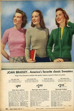 Collegiate fashion from the 1942-43 Sears, Roebuck and Co. fall and winter catalog