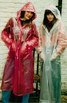 Pvc Raincoat, Plastic Raincoat, Rain Bonnet, Plastic Mac, Girls Together, Raincoats For Women, Rain Wear, Older Women, Hoods