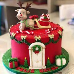 Fondant Christmas Cake, Christmas Themed Cake, Christmas Cake Designs, Christmas Cake Decorations, Christmas Snacks, Christmas Cupcakes, Holiday Cakes, Christmas Goodies, Christmas Baking