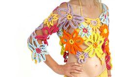 flowers crochet woman top,crochet flowers daisy cover up,summer hippie top,flower top,crochet blouse
