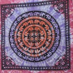 Handmade tie and dye elephant mandala Indian pink blue shaded hanging tapestry double bed throw mandala print dorm tapestry SFD023 by colornframe on Etsy