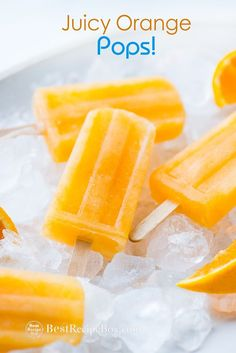 Orange Popsicles Recipe Juicy and Refreshing Ice Cream Best recipe for orange pops that's refreshing and made from fresh squeezed orange juice. These orange popsicles are easy, delicious, amazing for Summer pops Orange Popsicles, Fruit Popsicles, Baby Popsicles, Healthy Popsicles, Homemade Popsicles, Ice Lolly Recipes, Dessert Recipes, Healthy Popsicle Recipes, Salad Recipes
