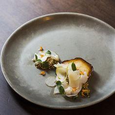 Pear Kohlrabi Buckwheat Pecorino & Amber Honey plated at MARKET by @seanymacd & @alexedmonson by carsontofin