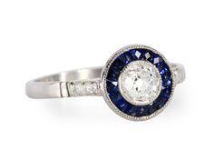 Diamond Sapphire Target Ring in Platinum - The Three Graces  $2,950
