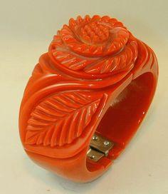 Beautiful Hand Carved  Coral Red Bakelite by JorgeCaicedoMdeOca, $450.00  theartofbakelite@gmail.com