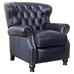 Barcalounger Presidential Recliner in Wenlock Onyx / All LeatherThe Presidential features classic elegance and timeless styling with the comfort and beauty of deep button tufting, barrel back and accenting nail head trim. Upholstered Furniture, Home Furniture, Furniture Design, Funky Furniture, Leather Furniture, Office Furniture, Furniture Ideas, Barcalounger, Leather Recliner Chair