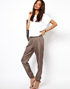 Asos Trousers in Jacquard with Zip Detail - Lyst