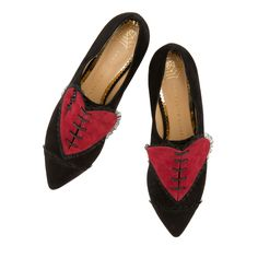 Update your wardrobe for Fall with the heartbreakingly chic Valentine from Charlotte Olympia. In black suede with this season's ruffled broken heart embellishment, this pointed-toe brogue is a look to fall for.