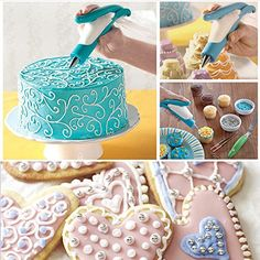 Color:Blue Material: ABS+metal Size:6.3*4.1*1.4 inches Package:1* Decorating pen+ 4*Decorating bags+ 4*Different shape tips + 2*Couplers Now you'll be able to decorate cakes as easily as if you are writing with a pen.Easy to make use of ,create any pattern any you like You don't want to be a pro to embellish cakes,cupcakes,cookies, or fondants