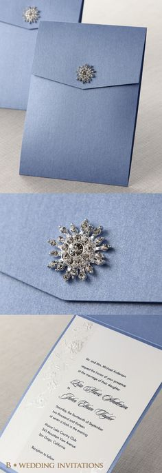 Embossed Romantic Couture by B Wedding Invitations #wedding #invitations #weddinginvitations #bweddinginvitations #periwinkle #jeweled #jeweledinvitation #crystal #brooch #pocketinvitation #embossed
