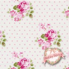 "Sunshine Roses PWTW071-PINKX Pink Hanky Rose By Tanya Whelan For Free Spirit: Sunshine Roses is a collection by Tanya Whelan for Free Spirit.  100% cotton. 43/44"" wide.  This fabric features small pink rose bouquets on a cream background with tiny pink dots."
