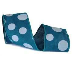 """Burlap Polka Dot Ribbon Size: 4"""" in width; 10 yards in length Material: 100% Jute Color: Turquoise Wire Edge"""