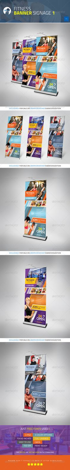 Fitness Banner Signage 1 — Photoshop PSD #modern #fitness • Available here → https://graphicriver.net/item/fitness-banner-signage-1/4136446?ref=pxcr