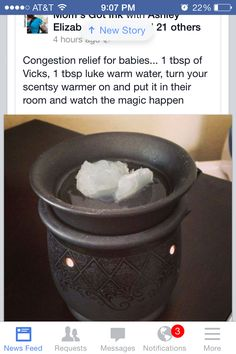 Vicks vapor rub heated in a tart warmer.