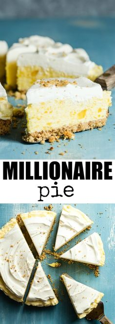 Inspired by Furr's famous Millionaire Pie. With a pecan crust and smooth pineapple filling, this version tastes a MILLION times better than the original! Pinned over times! Summer Desserts, Easy Desserts, Delicious Desserts, Yummy Food, Cold Desserts, Pie Dessert, Dessert Recipes, Pudding Desserts, Dessert Ideas