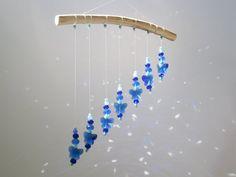 sun catcher hanging mobile ceiling beaded suncatcher blue geometric window decor light catcher living room nursery glass crystal wall art