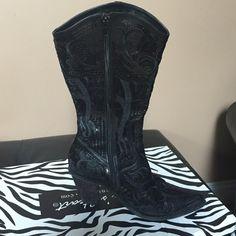 HOT HOT HOT SEQUIN BLACK COWBOY BOOTS!! Black bling sequin!  Size 9 Shoes