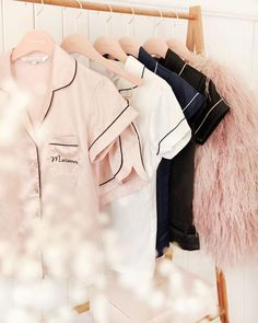 Personalize Your Bridal Party in Homebodii's Cute Bridal Robes - - Check out these cute robes + pajamas for you and your bridal party! Monogrammed Pajamas, Personalized Pajamas, Satin Kimono, Dusty Blue, Bride Squad, Pyjamas, Bride Shirt, Lace Bridal, Bridal Hair