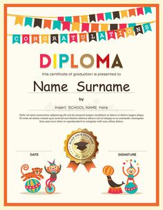 Photo about Preschool Elementary school Kids Diploma certificate template with bunting flags background design. Illustration of award, celebration, festive - 55665190