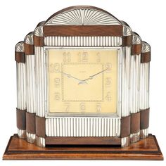 Art Deco Mantel Clock, Portugal | From a unique collection of antique and modern clocks at https://www.1stdibs.com/furniture/more-furniture-collectibles/clocks/