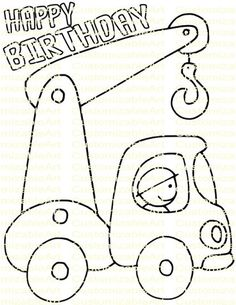 Construction Party Favor Crane Truck Birthday Printables Coloring Page Sheet Cons