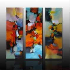 Here is very abstract style painting in panel style. Its placed on gradient style wall.